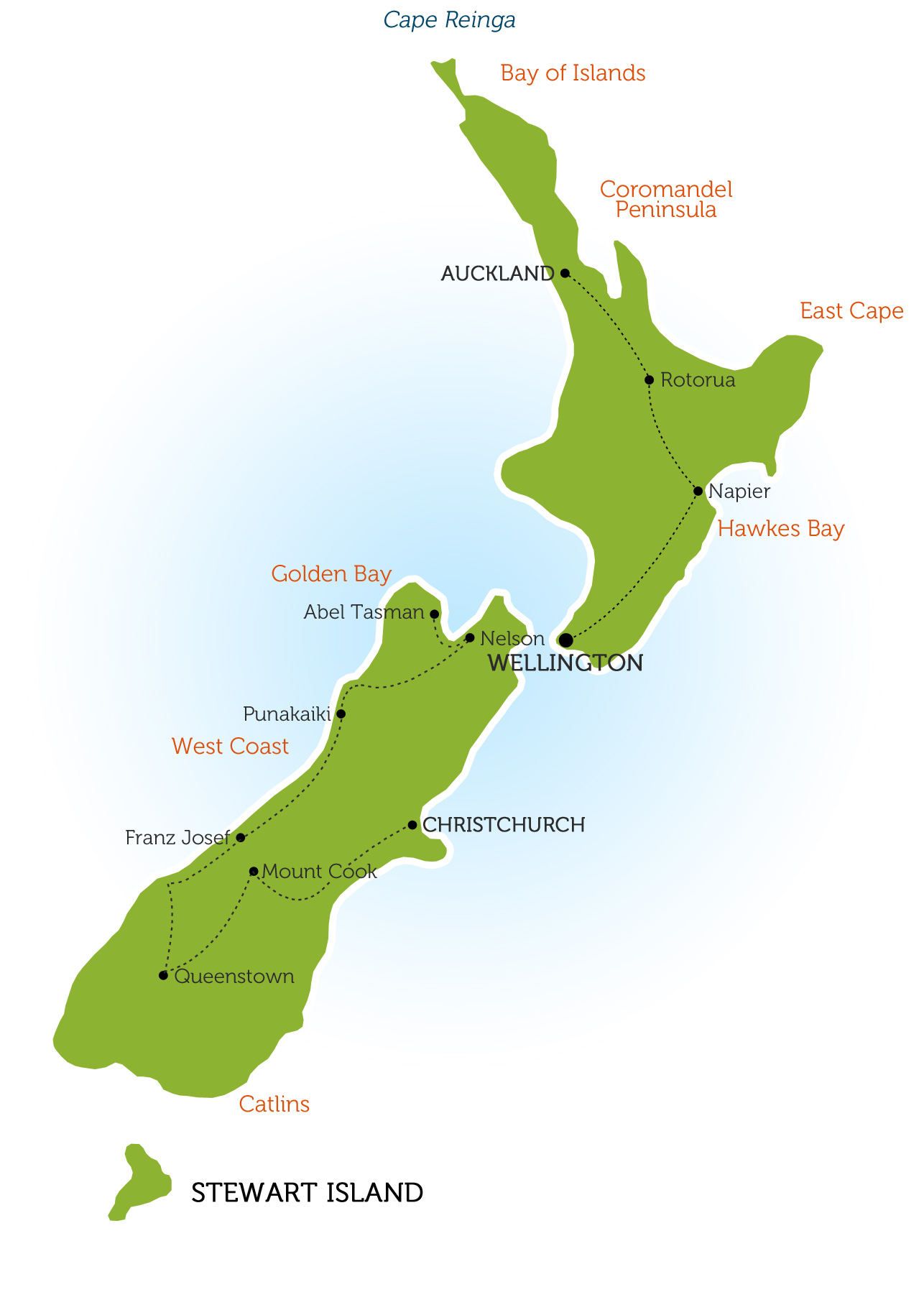 Map Of New Zealand North Island.North And South Island Map 3 Roundabout New Zealand